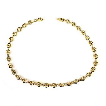14k Yellow Gold Diamond Cut Mariner cavigliera catena, 10