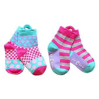 Girls Polka Dots & Stripes EZ SOX Socks - 2 Pairs, 3 - 5 Years