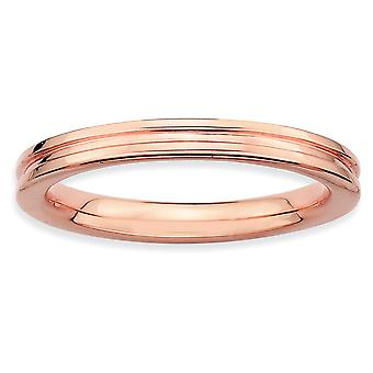 Sterling Zilver gepolijst gedessineerde stapelbare expressies roze basisstuk gegroefde Ring - Ringmaat: 5 tot 10