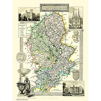 Map of Staffordshire 1836 by Thomas Moule 1000 Piece Jigsaw Puzzle (jg)