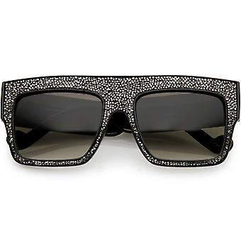 Women's Rhinstone Crystal Flat Top Square Sunglasses Mirrored Lens 57mm