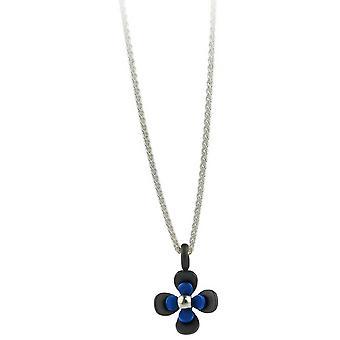 Negro de titanio Ti2 atrás cuatro pétalos flor colgante - azul marino