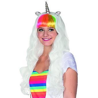 Peluca blanca peluca de unicornio blanco con flequillo y Festival accesorio unicornio arco iris