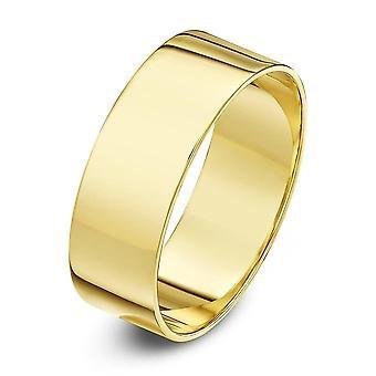 Sterne Trauringe 9ct Gelb Gold leichte flache Form 8mm Ehering