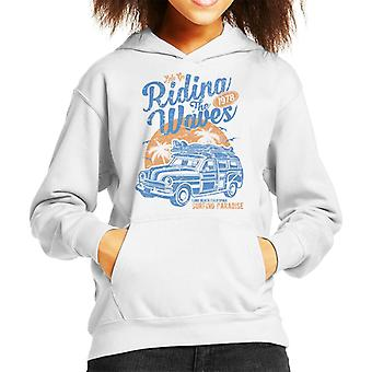 Riding The Waves Surfing Paradise Kid's Hooded Sweatshirt