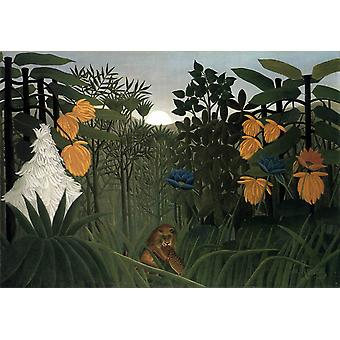 The Lion's Meal, Henri Rousseau, 40x60cm with tray