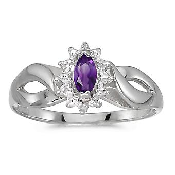 14k White Gold Marquise Amethyst And Diamond Ring