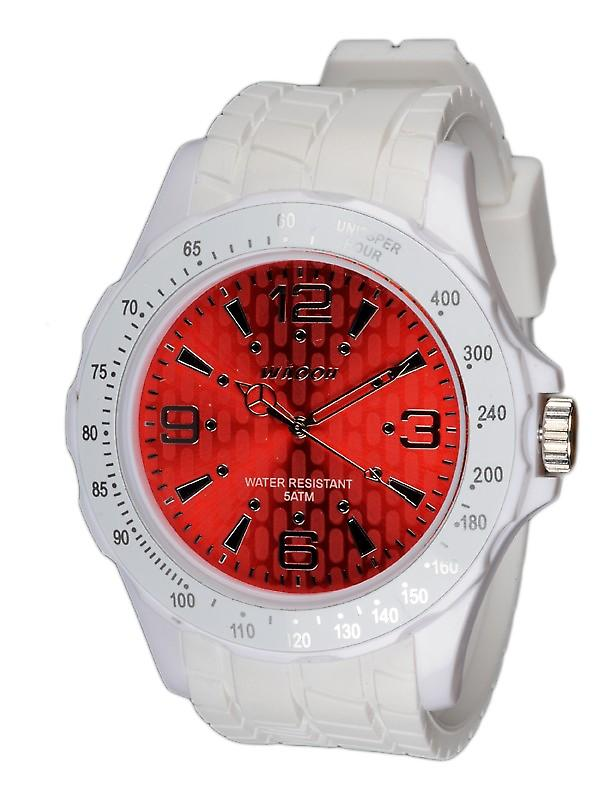 Waooh - White Silicone Watch Red Dial With A Silvery Figures Waooh Gpm48 Inspired From Monaco Grand Prix