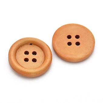 Packet 5 x Beige Wood 20mm Round 4-Holed Sew On Buttons HA11100