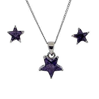 TOC Sterling Silver Purple CZ Set Star Studs & Pendant Necklace 18