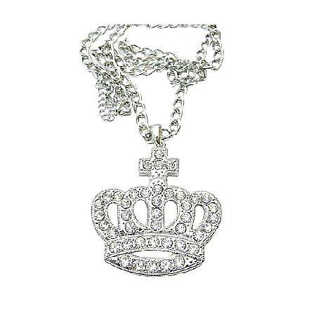 Diamante Hip Hop Crown Pendant Fully Encrusted Embedded Long King