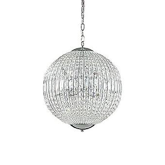 Ideal Lux - Luxor Medium Chrome Pendant With Crystals IDL116228