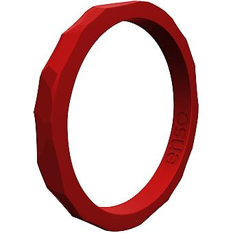 Enso Rings Hammered Stackables Series Silicone Ring - Crimson