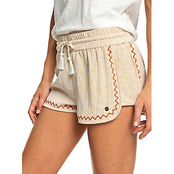 Roxy Womens Friends Stories Striped Fashion Beach Shorts - Beige/Rust