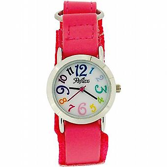 Ragazze reflex analogica Hot Pink facile fissare tessuto Strap Watch KID-0072