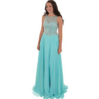 Mouwloze Long Low Back Mesh Chiffon Prom Evening bruidsmeisje Party Dress