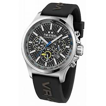 TW Steel Mens VR46 Stainless Steel Black Rubber Strap TW938 Watch