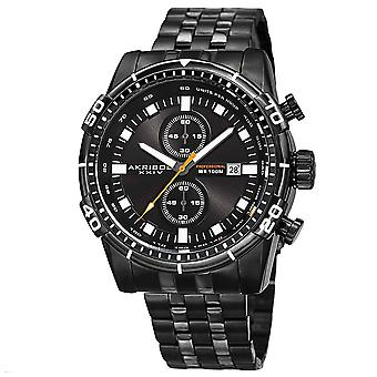 Akirbos XXIV AK852BK Men's Quartz Chronograph Stainless Steel Black Bracelet Watch