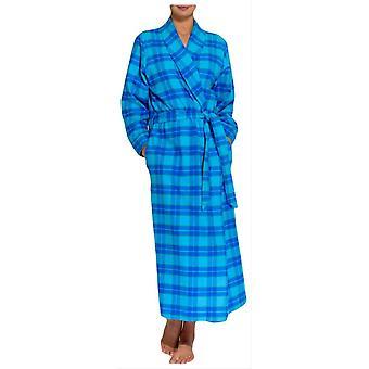 British Boxers Tartan Two Fold Flannel Robe - Aqua Blue
