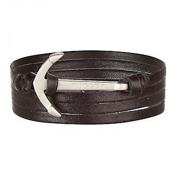 Holler Mosley  Silver Sandblasted Anchor / Black Leather Bracelet  HLB-01SRS-L13