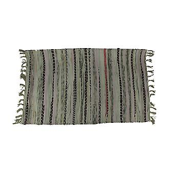 Multicolored Cotton Chindi Rag Fringed Throw Rug