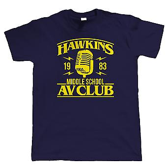 Hawkins Middle School AV Club Hommes T-Shirts (fr) Action Adventure Horreur Sci-Fi Series Binge Halloween (fr) Upside Down DN80s Petite Ville D'été (fr) TV - Movie Gift Him