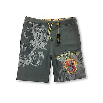 Christian Audigier jersey shorts in grey roya embem print