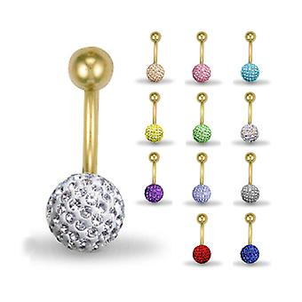 Jewelco London 9ct Yellow Gold Crystal Disco Ball Belly Bar - Various Colours