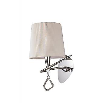 Mantra Mara Wall Lamp Switched 1 Light E14, Polished Chrome With Ivory White Shade