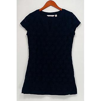 Isaac Mizrahi en direct! Top Short Sleeve Split V-Neckline Lace Knit Blue A214742