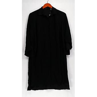 H par Halston Top Long Sleeve Button Front Tunic Black A301999