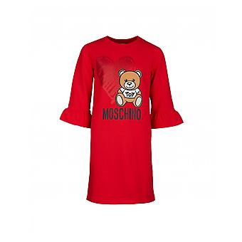 Moschino Moschino Kids Toy Bear Heart Fluted Sleeve Dress
