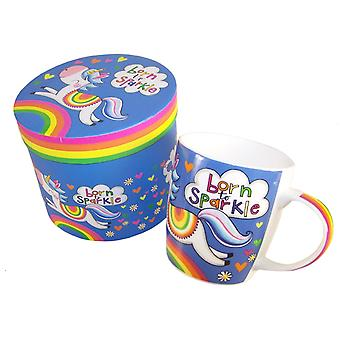 Unicorn colourful china mug in a gift box