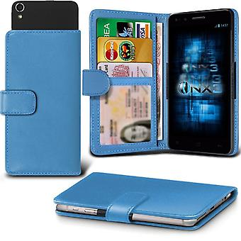 ONX3 Aldi Medion Life E5001 Leather Universal Spring Clamp Wallet Case With Card Slot Holder and Banknotes Pocket-Light Blue