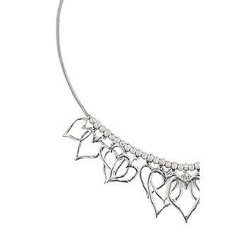 Collana cuore di perline d'argento