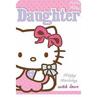 Hola tarjeta de cumpleaños de Kitty para hija