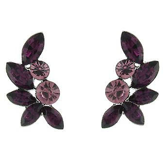 Amethyst paars Swarovski Crystal blad Stud Earrings Stud Earrings