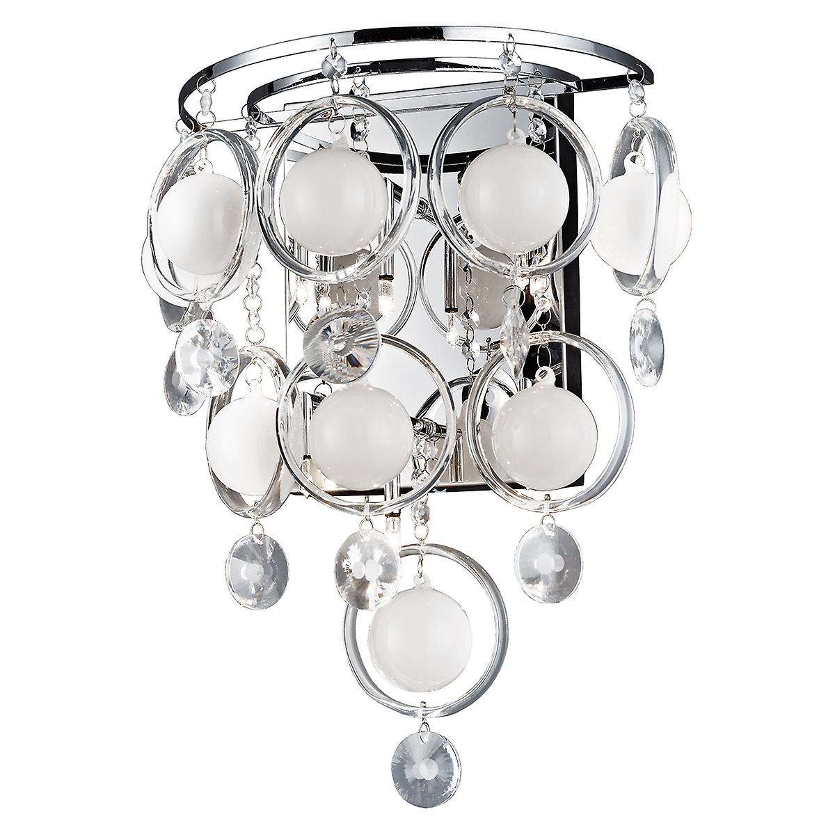 Dar CLO3050 Cloud Modern Chrome 6 Light Halogen Crystal Wall Light