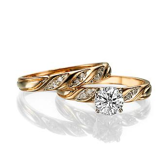 1 1/2 Carat G VS2 Diamond Engagement Ring 14k Rose Gold Vintage Ring Bridal Set Engagement Set