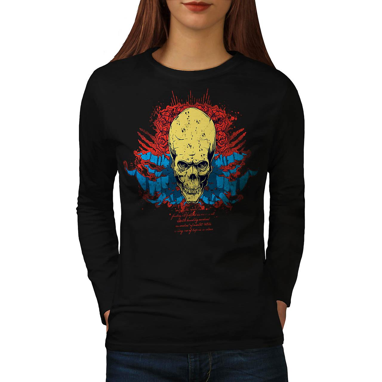 Evil Skull Head Smile Devil Zone Women Black Long Sleeve T-shirt | Wellcoda