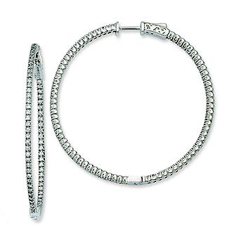 Sterling Silver Polished Hinged hoop Safety clasp Rhodium-plated Cubic Zirconia Round Hoop Earrings