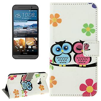 Cell phone cover case for mobile HTC one M9 owls pair