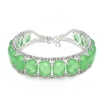 Silver Plated Green Oval Glass Bracelet, 17cm