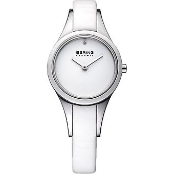 Bering ladies slim ceramic - 33125-654 leather wristwatch watch