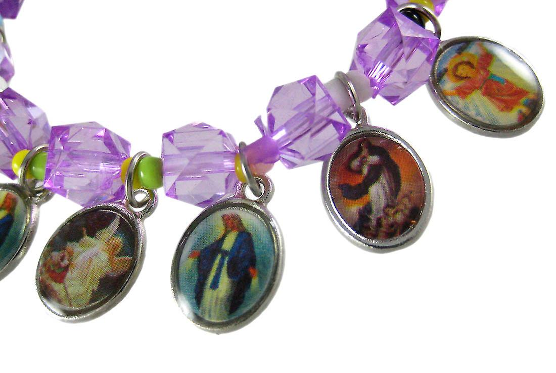 Purple Bead Stretch Bracelet Dangling Religious Scenes