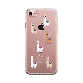 Llama Pattern Transparent Phone Case Cute Clear Phonecase