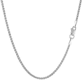 14k White Gold Round Wheat Chain Necklace, 1.5mm