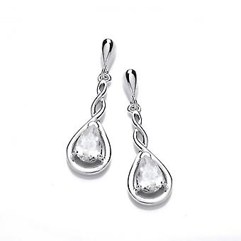 Cavendish French Silver and Cubic Zirconia Celtic Twist Earrings