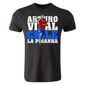 Arturo Vidal Chile Player T-Shirt (Black) - Kids