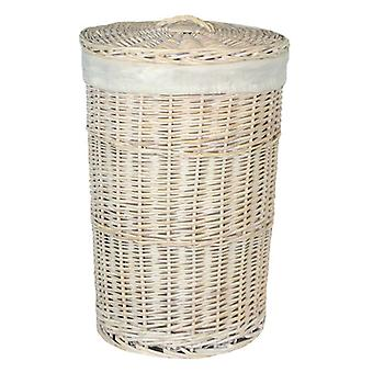 Large Round White Wash Laundry Basket with a White Lining